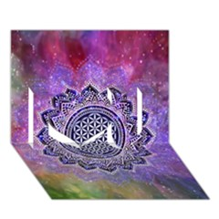 Flower Of Life Indian Ornaments Mandala Universe I Love You 3D Greeting Card (7x5)