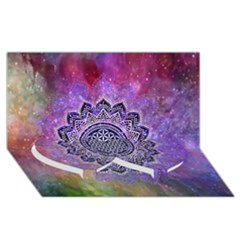 Flower Of Life Indian Ornaments Mandala Universe Twin Heart Bottom 3d Greeting Card (8x4)