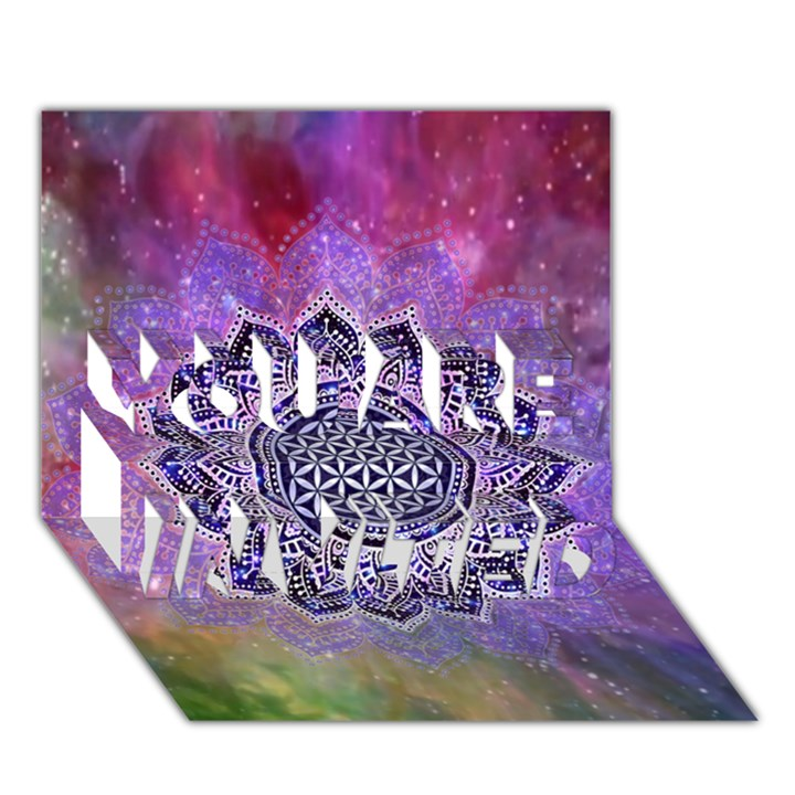 Flower Of Life Indian Ornaments Mandala Universe YOU ARE INVITED 3D Greeting Card (7x5)