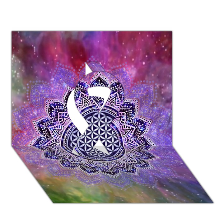 Flower Of Life Indian Ornaments Mandala Universe Ribbon 3D Greeting Card (7x5)