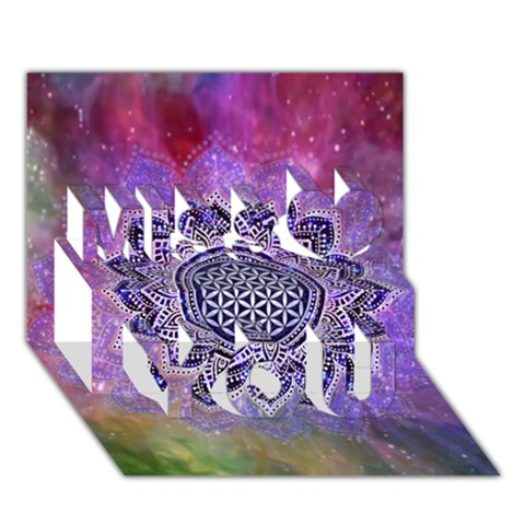 Flower Of Life Indian Ornaments Mandala Universe Miss You 3D Greeting Card (7x5)