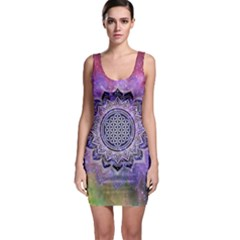 Flower Of Life Indian Ornaments Mandala Universe Sleeveless Bodycon Dress
