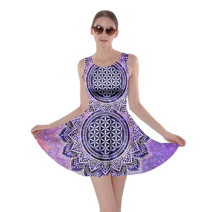 Flower Of Life Indian Ornaments Mandala Universe Skater Dress
