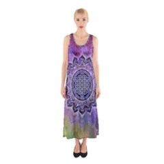 Flower Of Life Indian Ornaments Mandala Universe Sleeveless Maxi Dress