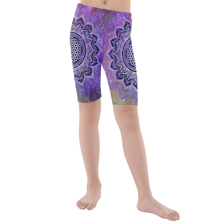 Flower Of Life Indian Ornaments Mandala Universe Kids  Mid Length Swim Shorts