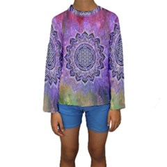 Flower Of Life Indian Ornaments Mandala Universe Kids  Long Sleeve Swimwear