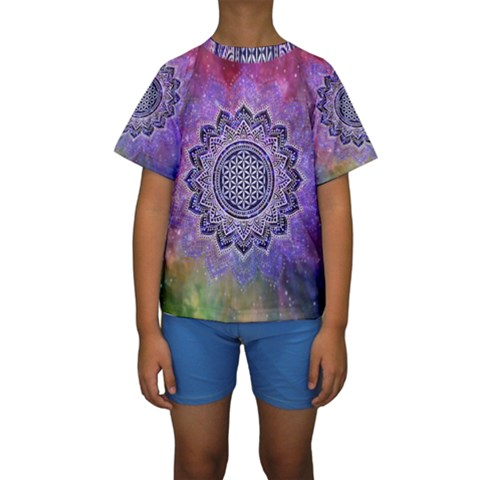 Flower Of Life Indian Ornaments Mandala Universe Kids  Short Sleeve Swimwear