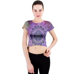 Flower Of Life Indian Ornaments Mandala Universe Crew Neck Crop Top