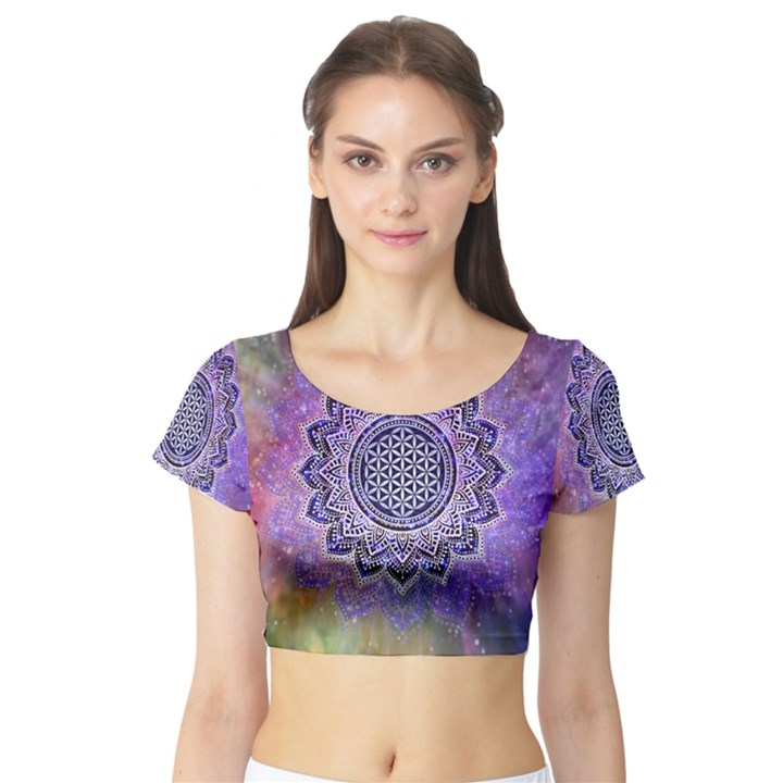 Flower Of Life Indian Ornaments Mandala Universe Short Sleeve Crop Top (Tight Fit)