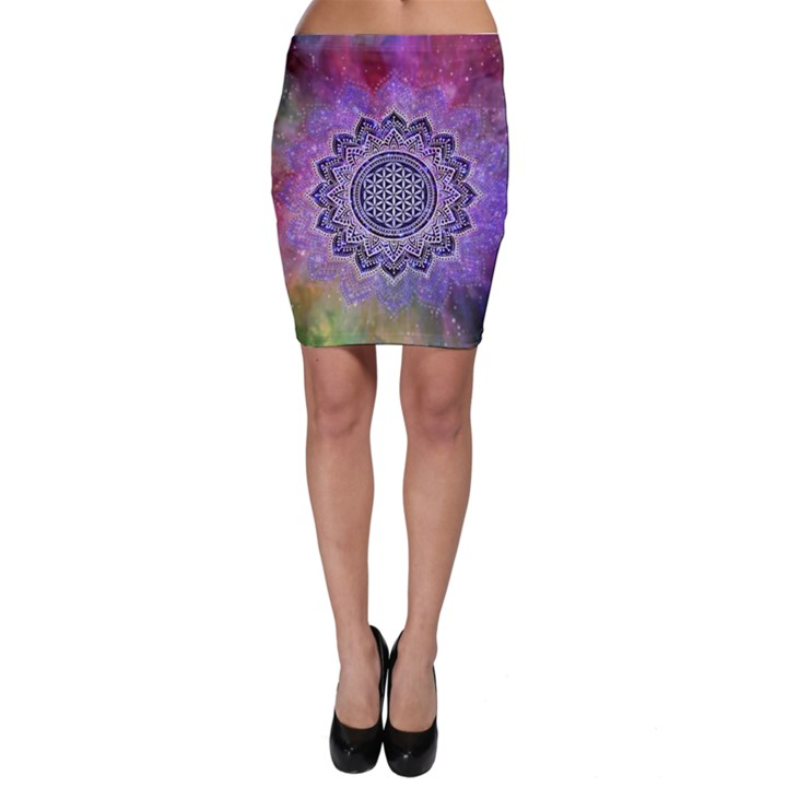Flower Of Life Indian Ornaments Mandala Universe Bodycon Skirt