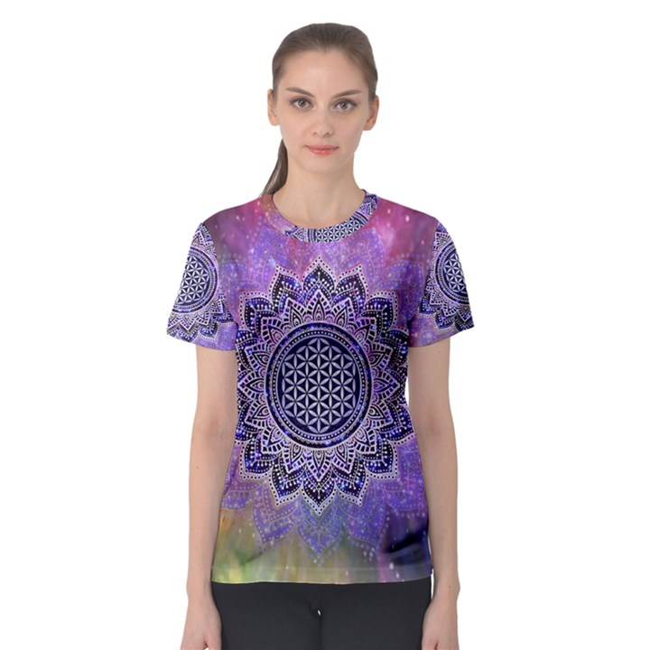 Flower Of Life Indian Ornaments Mandala Universe Women s Sport Mesh Tee