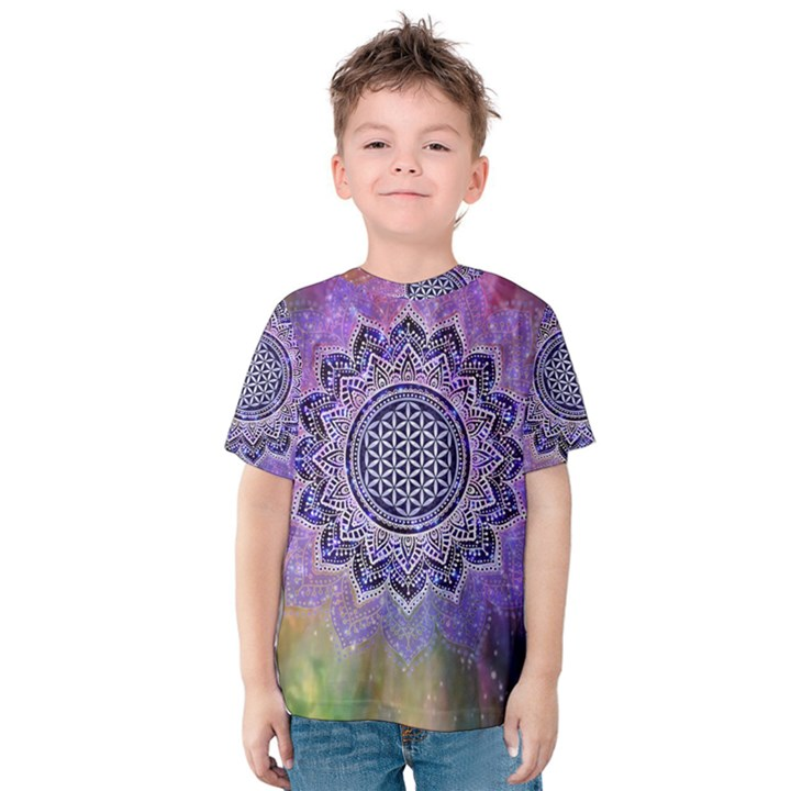 Flower Of Life Indian Ornaments Mandala Universe Kids  Cotton Tee