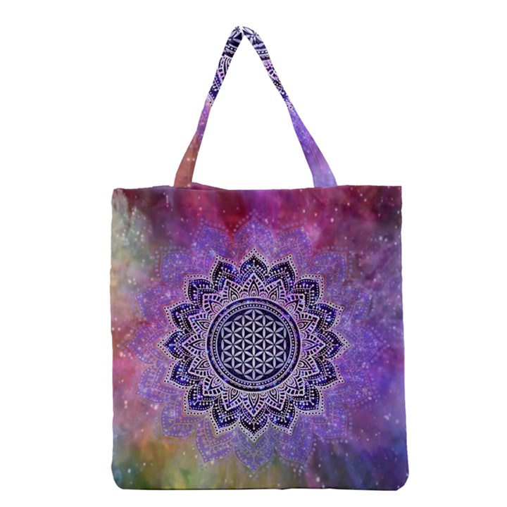 Flower Of Life Indian Ornaments Mandala Universe Grocery Tote Bag