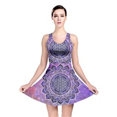 Flower Of Life Indian Ornaments Mandala Universe Reversible Skater Dress