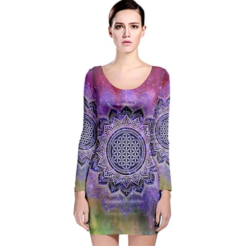 Flower Of Life Indian Ornaments Mandala Universe Long Sleeve Bodycon Dress