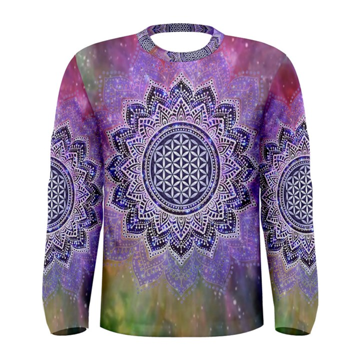Flower Of Life Indian Ornaments Mandala Universe Men s Long Sleeve Tee