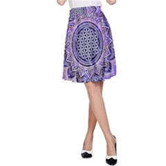 Flower Of Life Indian Ornaments Mandala Universe A-Line Skirt