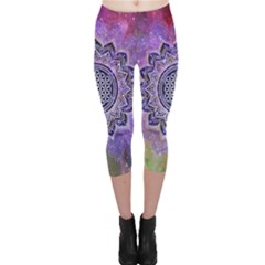 Flower Of Life Indian Ornaments Mandala Universe Capri Leggings