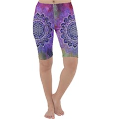 Flower Of Life Indian Ornaments Mandala Universe Cropped Leggings