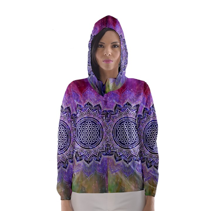 Flower Of Life Indian Ornaments Mandala Universe Hooded Wind Breaker (Women)