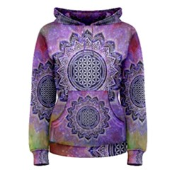 Flower Of Life Indian Ornaments Mandala Universe Women s Pullover Hoodie
