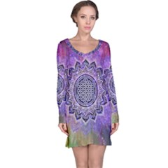 Flower Of Life Indian Ornaments Mandala Universe Long Sleeve Nightdress