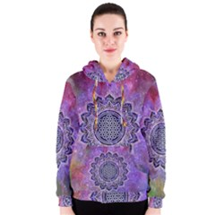 Flower Of Life Indian Ornaments Mandala Universe Women s Zipper Hoodie