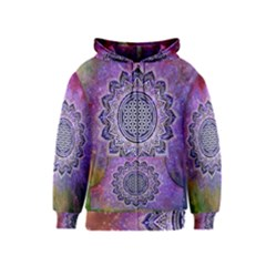 Flower Of Life Indian Ornaments Mandala Universe Kids  Zipper Hoodie