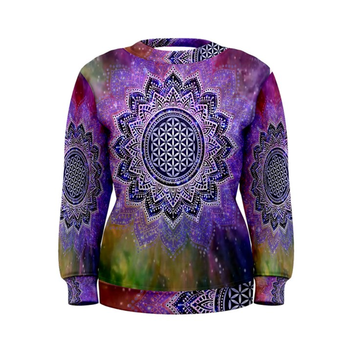 Flower Of Life Indian Ornaments Mandala Universe Women s Sweatshirt