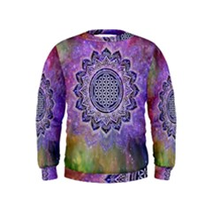 Flower Of Life Indian Ornaments Mandala Universe Kids  Sweatshirt