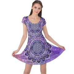 Flower Of Life Indian Ornaments Mandala Universe Cap Sleeve Dresses