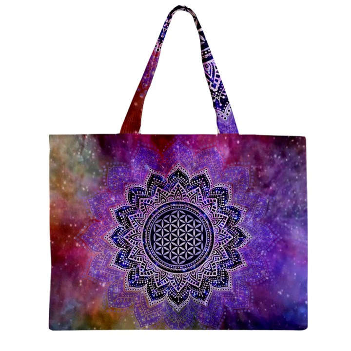 Flower Of Life Indian Ornaments Mandala Universe Zipper Mini Tote Bag