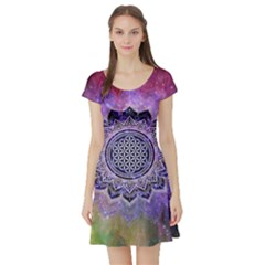 Flower Of Life Indian Ornaments Mandala Universe Short Sleeve Skater Dress