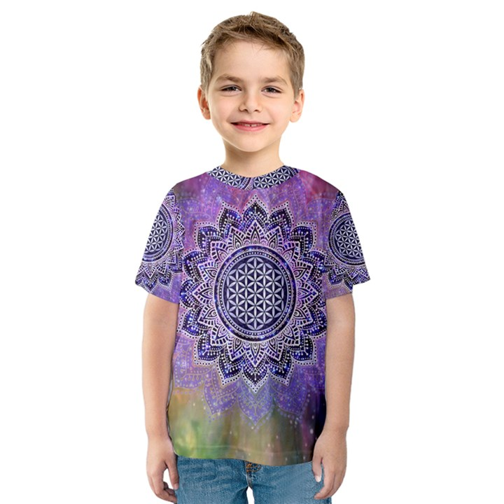 Flower Of Life Indian Ornaments Mandala Universe Kids  Sport Mesh Tee