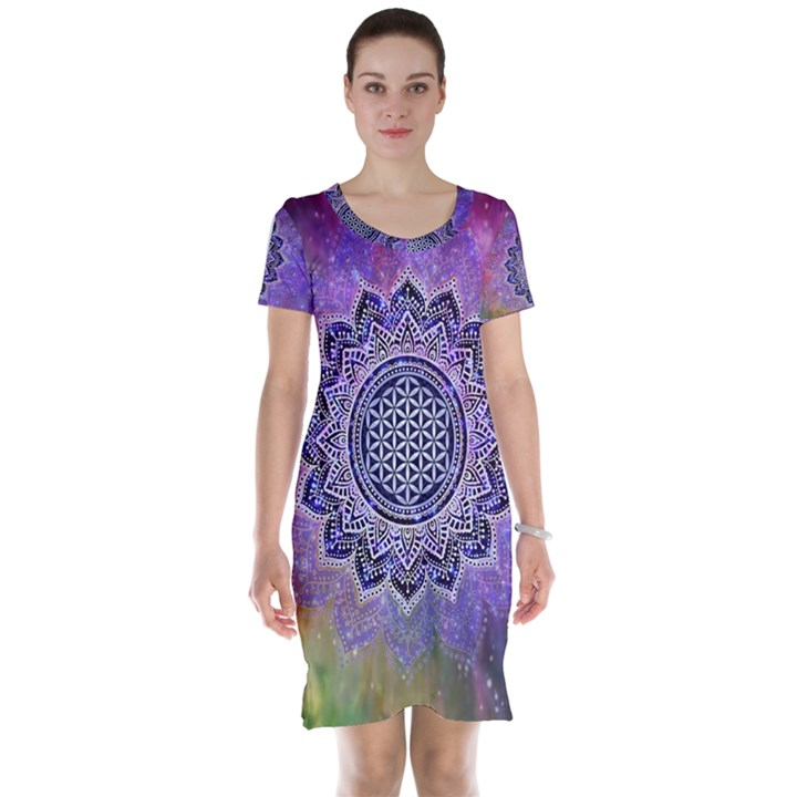 Flower Of Life Indian Ornaments Mandala Universe Short Sleeve Nightdress