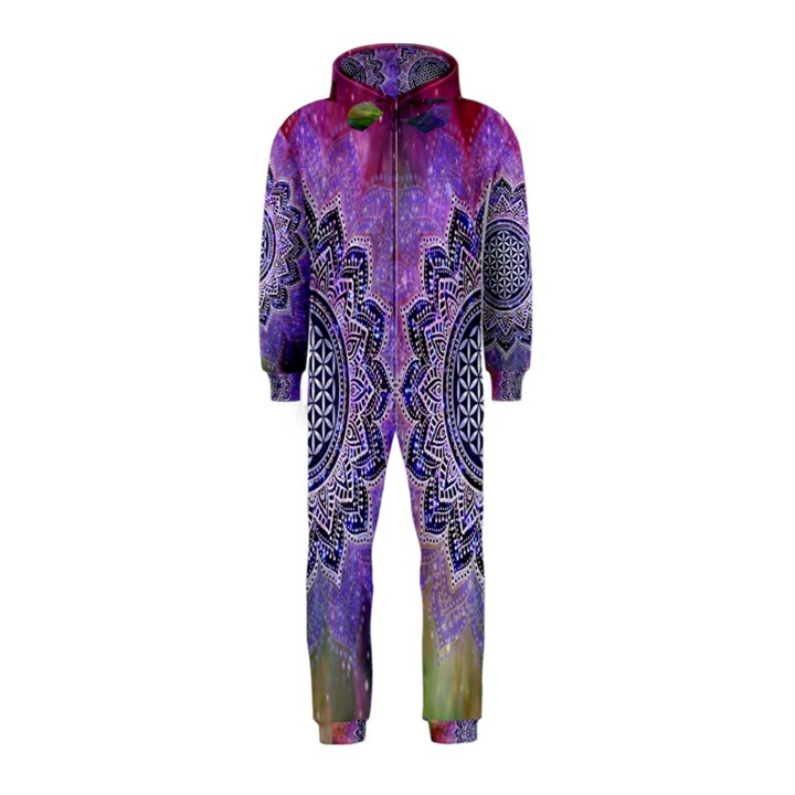 Flower Of Life Indian Ornaments Mandala Universe Hooded Jumpsuit (Kids)