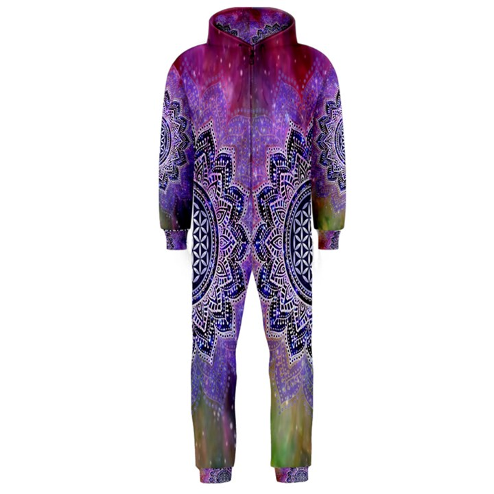 Flower Of Life Indian Ornaments Mandala Universe Hooded Jumpsuit (Men)