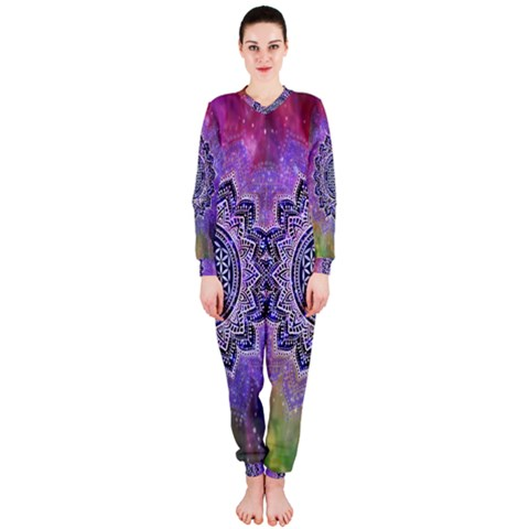 Flower Of Life Indian Ornaments Mandala Universe OnePiece Jumpsuit (Ladies)