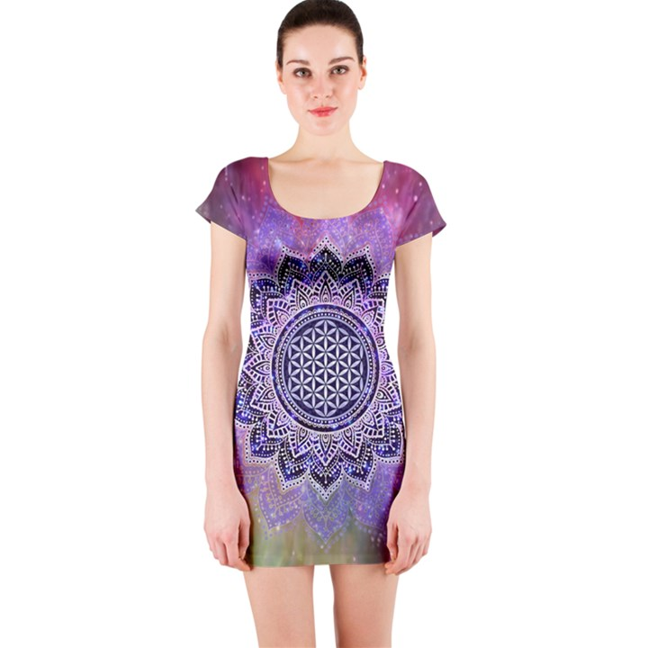 Flower Of Life Indian Ornaments Mandala Universe Short Sleeve Bodycon Dress
