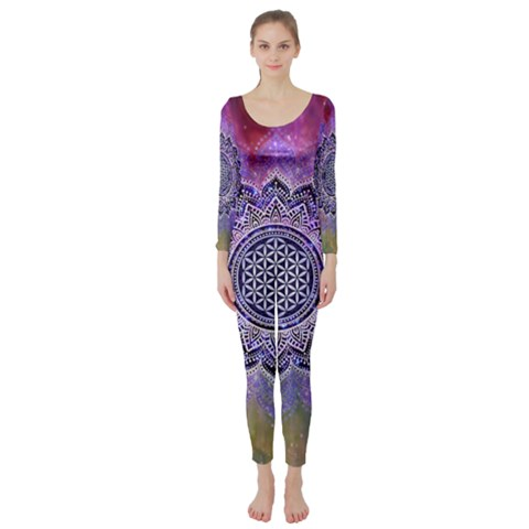 Flower Of Life Indian Ornaments Mandala Universe Long Sleeve Catsuit