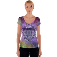 Flower Of Life Indian Ornaments Mandala Universe Women s V-Neck Cap Sleeve Top