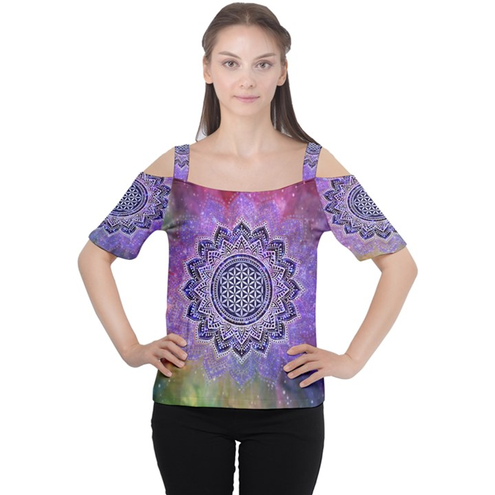 Flower Of Life Indian Ornaments Mandala Universe Women s Cutout Shoulder Tee