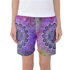 Flower Of Life Indian Ornaments Mandala Universe Women s Basketball Shorts