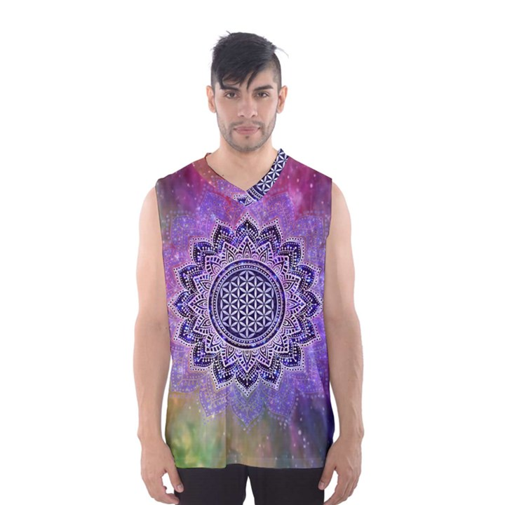 Flower Of Life Indian Ornaments Mandala Universe Men s Basketball Tank Top
