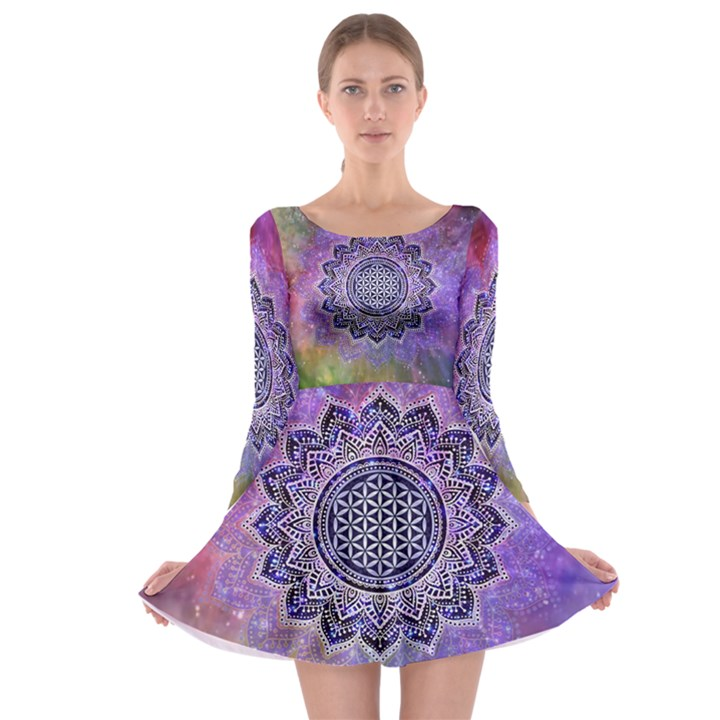 Flower Of Life Indian Ornaments Mandala Universe Long Sleeve Skater Dress