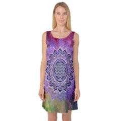 Flower Of Life Indian Ornaments Mandala Universe Sleeveless Satin Nightdress