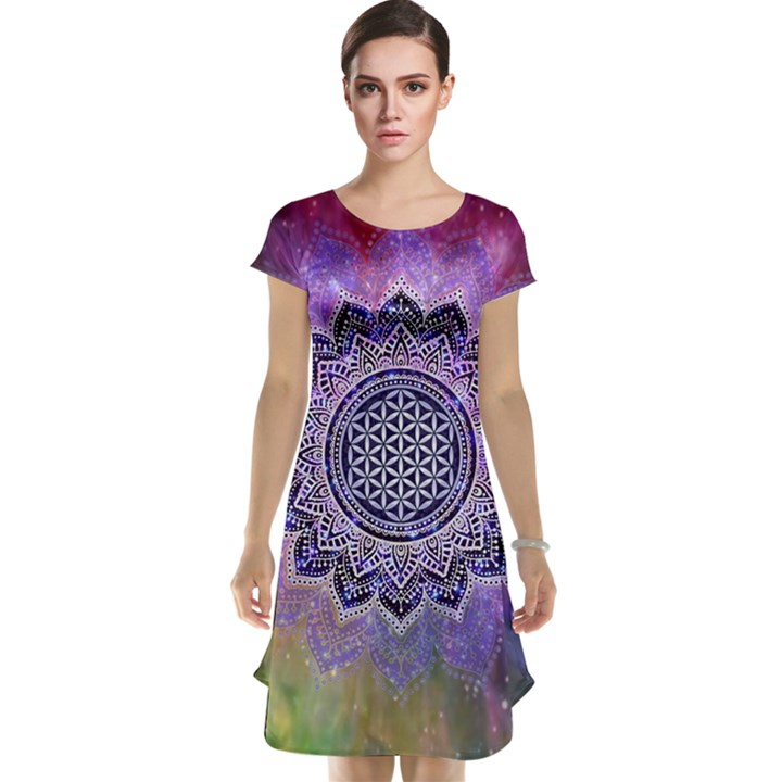 Flower Of Life Indian Ornaments Mandala Universe Cap Sleeve Nightdress