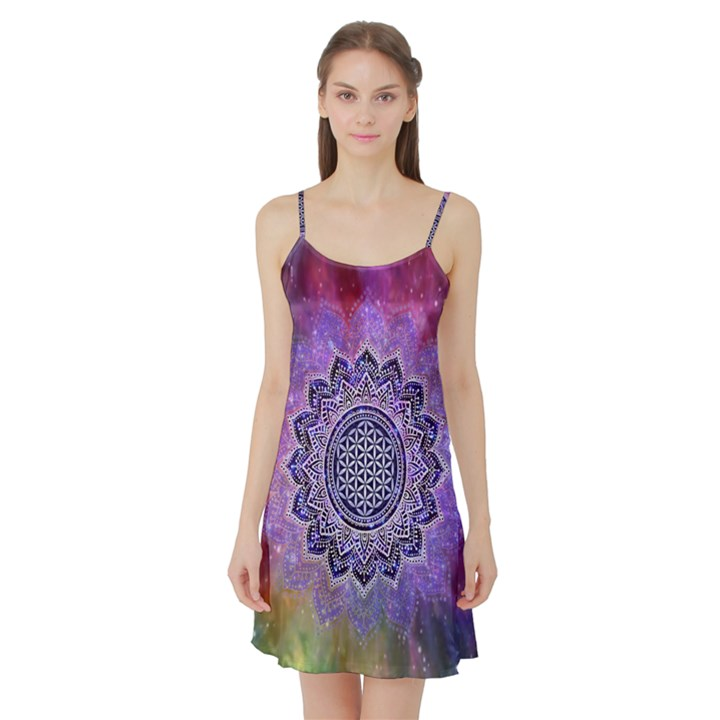 Flower Of Life Indian Ornaments Mandala Universe Satin Night Slip