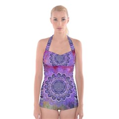 Flower Of Life Indian Ornaments Mandala Universe Boyleg Halter Swimsuit