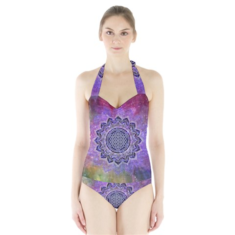 Flower Of Life Indian Ornaments Mandala Universe Halter Swimsuit